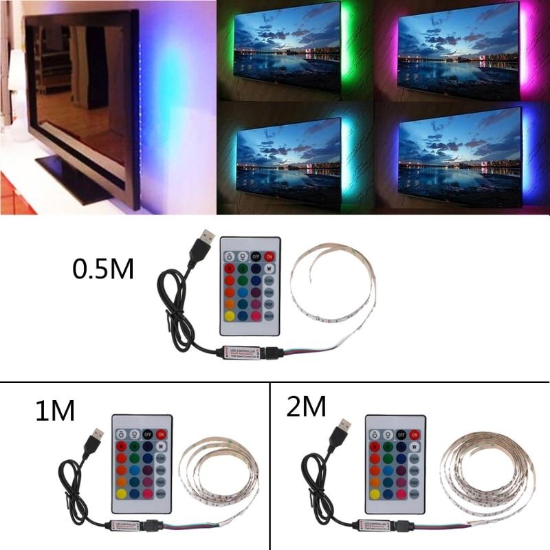 0.5m/1m/2m DC 5V USB 30 LED/m 5050 RGB Non Waterproof Flexible LED Strip Light TV Back Lighting+24 Key Remote