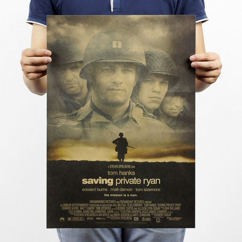 Free shipping,Saving Private Ryan/Hanks war film classic movie/kraft paper/bar poster/Retro Poster/decorative painting 51x35.5cm image