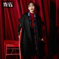 Samstree зима 33.1% шерстяное пальто с капюшоном черный пояс для талии женский шерстяное пальто очень длинные для женщин верхняя одежда
