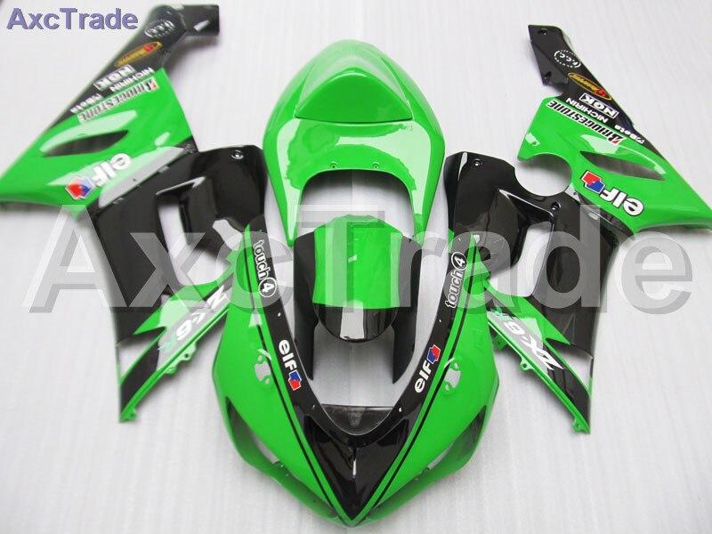 Moto Motorcycle Fairing Kit For Kawasaki Ninja ZX6R 636 ZX-6R 2005 2006 05 06 ABS Plastic Fairings fairing-kit Green Black C435 for kawasaki ninja zx 6r zx6r zx636 zx636r zx 636 2005 2006 street bike steering damper mounting kit stabilizer adjustable