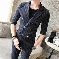 Male Spring summer striped small suit men suit summer trend nightclub Slim middle sleeve suit suit male summer (shirt + pants)