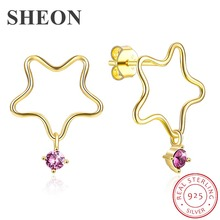 SHEON Authentic 925 Sterling Silver Star Hanging Purple Crystal Stud Earrings for Women Luxury Jewelry Gift