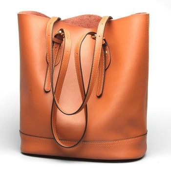 New 2019 New Women's Bag Fashion Handbags Ladies Genuine Leather Bucket Bag Ladies Shoulder Casual Bag Handbag Brown