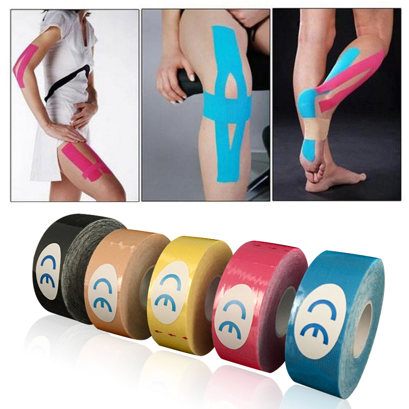 Mayitr 1 Roll Waterproof Cotton Elastic Kinesiology Sports Tape Muscle Pain Care Therapeutic Muscle Tapes For DIY Exercise Tools herbal muscle