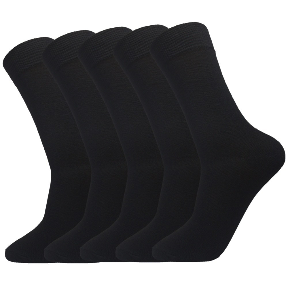 5 Pack Men Black Bamboo Cotton   Sock   Men Casual Business Flat Crew Mid   Sock   Suit for Women Or Men High Elasticity   Sock   Size 39-42
