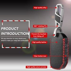 Image 4 - 3/4 Bottoni Smart Remote Caso Chiave Per Kia Sportage Ceed Sorento Cerato Forte 2017 2018 2019 di Cuoio Fob Borsette Copertura titolare della pelle