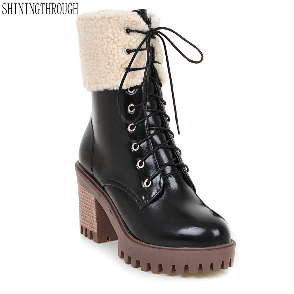New fashion lace up women boots rouned toe snow boots woman thick high heels shoes woman ladies dress shoes sexy ankle boots facndinll shoes 2017 genuine leather women ankle boots sexy thick high heels pointed toe lace up shoes woman dress party shoes