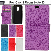 Case For Xiaomi Redmi Note 4X Cover Luxury Cartoon Wallet Card Silicone Fundas For Xiomi Xioami