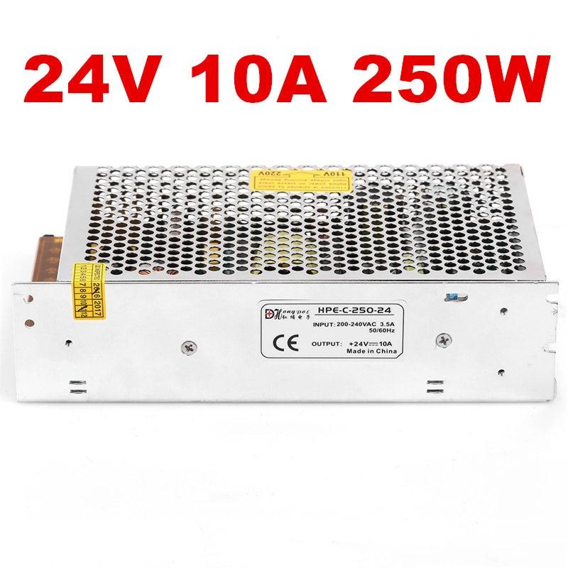 1PCS 250W 24V Switching Power Supply 24V10A LED CCTV AC-DC 100-240VAC 24V 10A S-250-24 1pcs ac dc 200w 24v power supply 24v 8 3a 200w 100 240vac led5050 3520 s 200 24