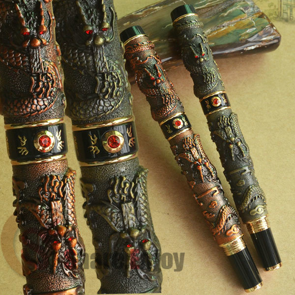 2 PCS JINHAO ANTIQUE BRASS COPPER TWO DRAGON PLAY PEARL ROLLER BALL PEN FREE SHIPPING цены