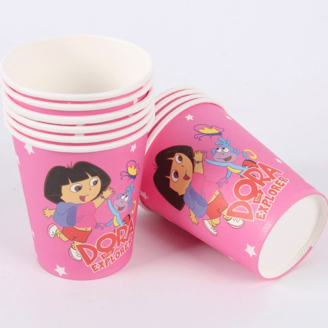 10pcslot Dora Paper Cups Disposable Tableware Wedding Birthday