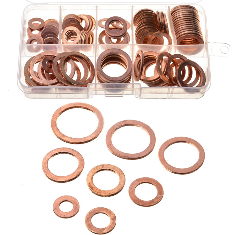 120pcs 8 Sizes Copper Metric Sealing Washer Ring Assortment Kit Copper Gaskets Flat Set For Hardware Tools Accessories Car Auto ...