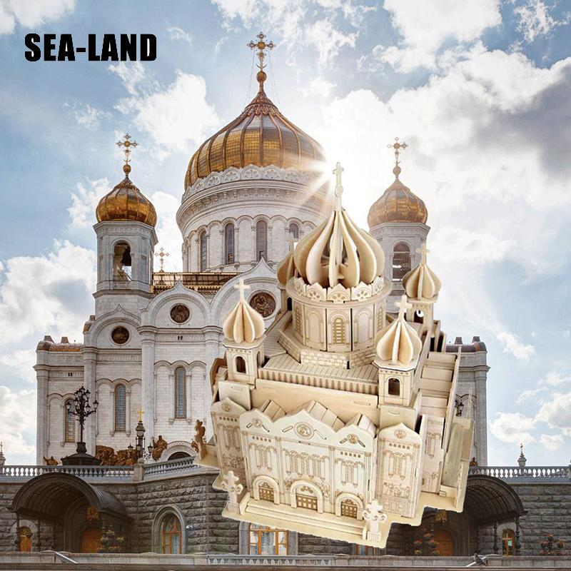 3D Children World Famous Building Puzzles Cathedral Of Christ The Saviour Quality Wooden Puzzles Adult Teens Toy Hobby Gift Deco