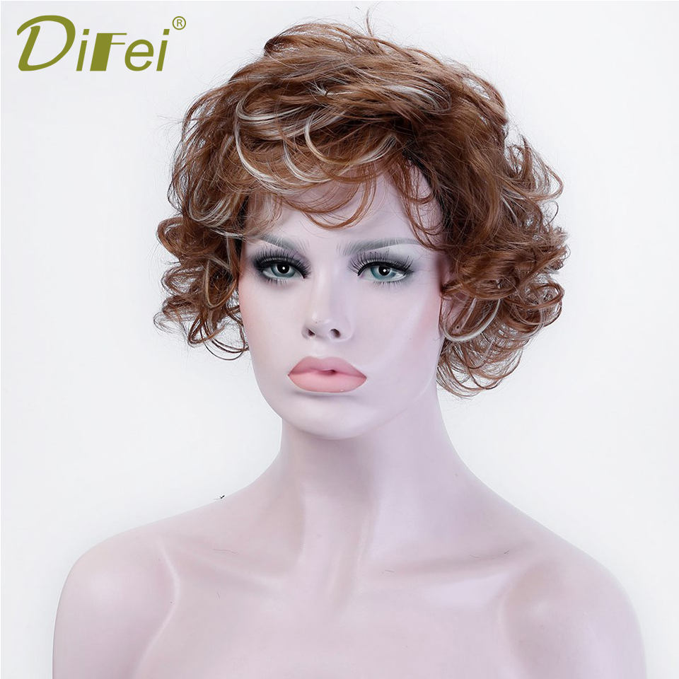 DIFEI Short Wave Womens Curls Cospaly Wig Halloween Party, Shopping High Temperature Fiber Clip Extended Hair ...