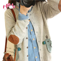 Cute Duck Thin Knitted Sweater Cardigan For Young Girl Japanese Fashion Mori Style Women Sweater