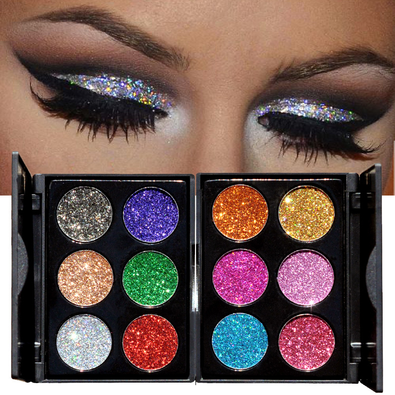 2018 Makeup 6 Colors Waterproof Glitter Eyeshadow Palette Shining Metals Powder Shimmer Eye Shadow Pigments Kits Diamond Make Up