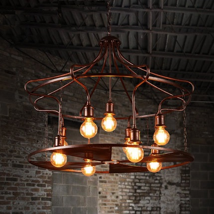 IWHD Nordic Iron House Pending Lighting Fixtures 9 Heads Retro Lamp Luminacion Style Loft Vintage Industrial Pendant Lights