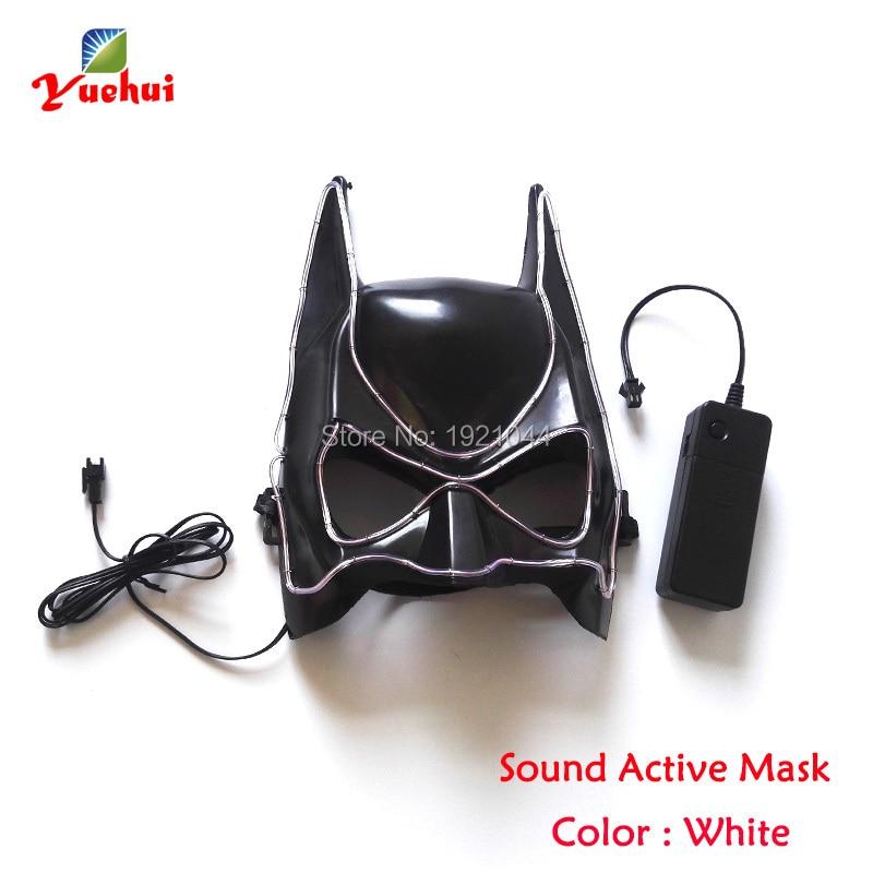 Halloween Face Mask Lighting Color White EL Wire Mask + DC 3V Sound ...