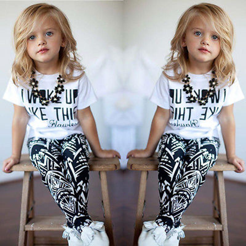 1 2 3 4 5 5 6 7 8 Year Girls Clothes 2018 New Spring Summer Children Clothing Set Letter Printed Shirts Pants 2pcs Kids Suits