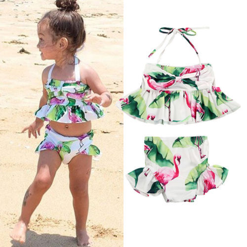 Baby Kid Lovely Girls Flamingo Two-piece Tankini Swimwear Little Girl Swimsuit Bikini Bathing Suit Beachwear