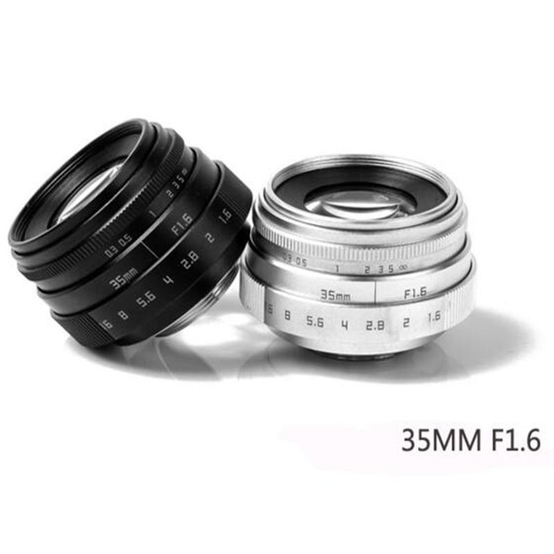 Foleto Fujian 35mm F1.6 CCTV Lens Television TV + Lens Adapter Ring C Mount for canon EOS M nikon j1 sony nex Micro m43 fx A7 A5