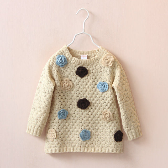 c2c3ed410 2015 Kids Girls Knit 3D flower sweaters Baby girl Knitted jumper ...