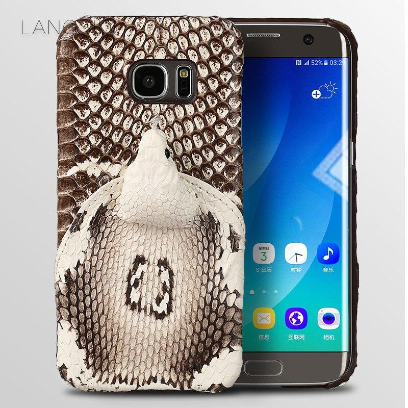 Wangcangli бренд чехол для телефона реального головой змеи задняя крышка чехол для телефона для samsung Galaxy S7 край Полный ручной таможенное оформле