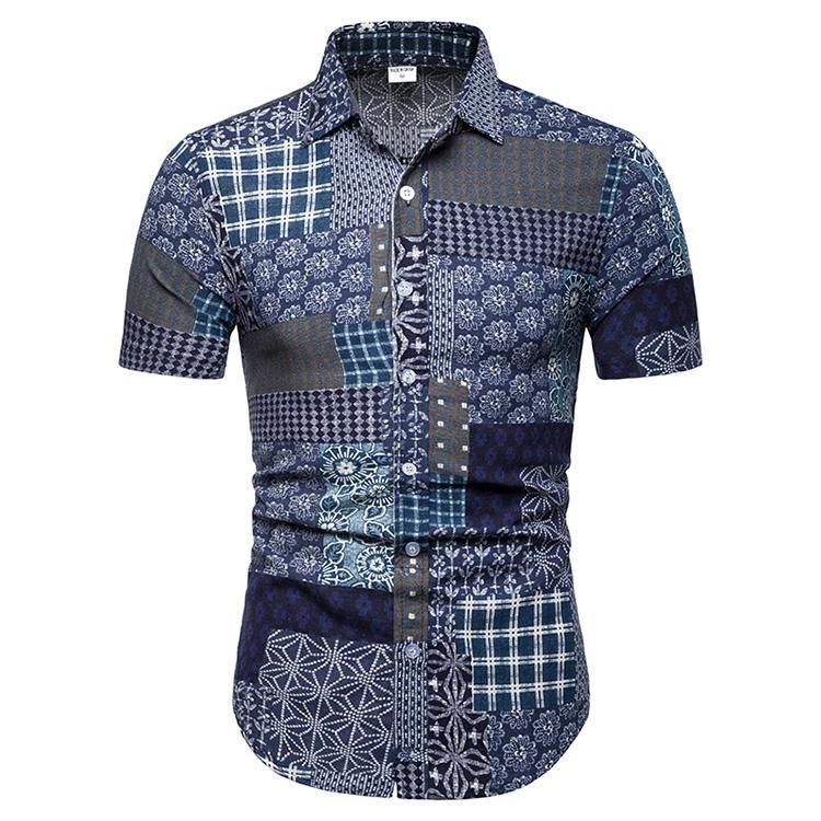 Plus Size Cotton Linen Social Shirt For Men Plaid Stitching Summer Short Sleeve Casual Blouse Man Dress Linen Shirts Men