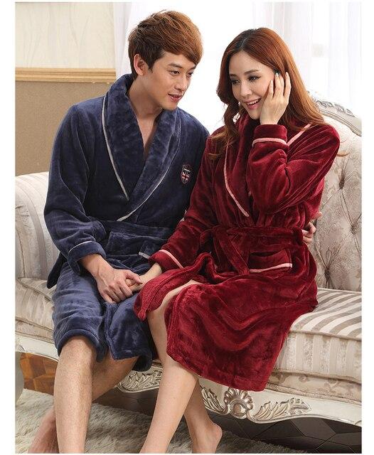 c8f7b14848914 Automne Et D'hiver Flanelle chemise de Nuit Femme Homme Couple Robe Épaisse  Peignoir Survêtement