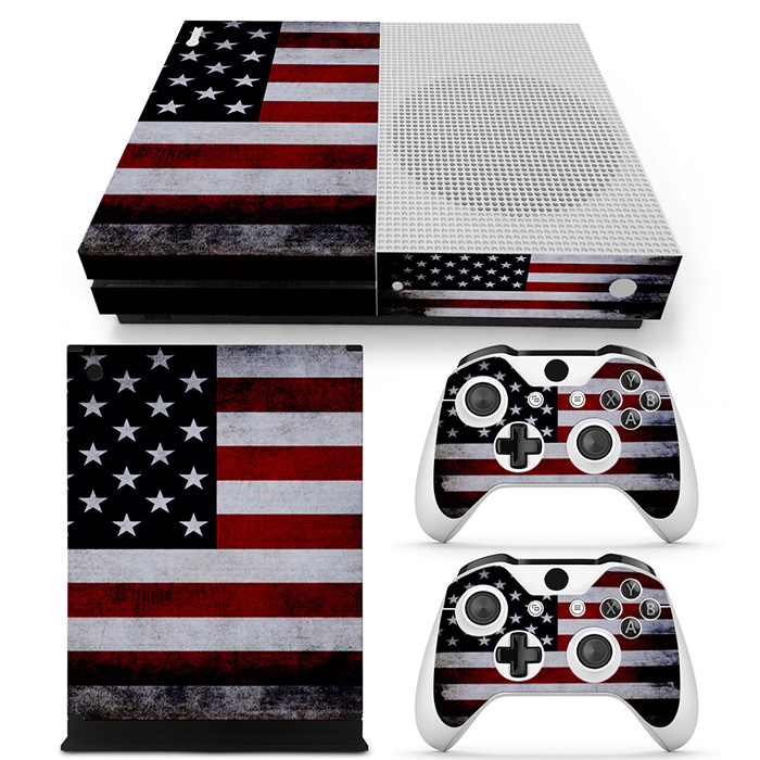 Free drop shipping easy to fit skin sticker forxboxone slim with console skin and two wireless controllers skin#TN-XboxOneS-0971