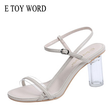E TOY WORD 2019 Summer New style sandals Korean thick with crystal transparent heel open toe women shoes summer wild