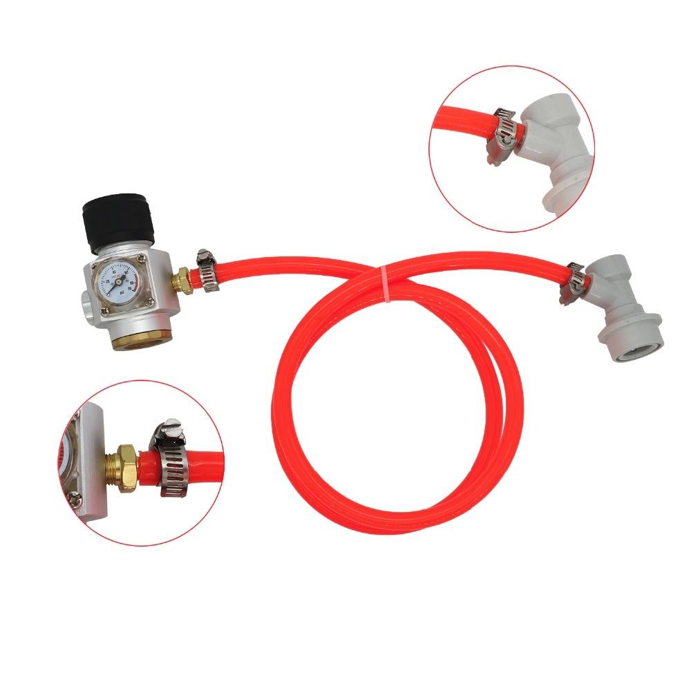 5/16 Gas Line Assembly 0 90 PSI Sodastream CO2 Mini Gas Regulator T21*4 Draft Beer Dispensing Cornelius Corny Keg