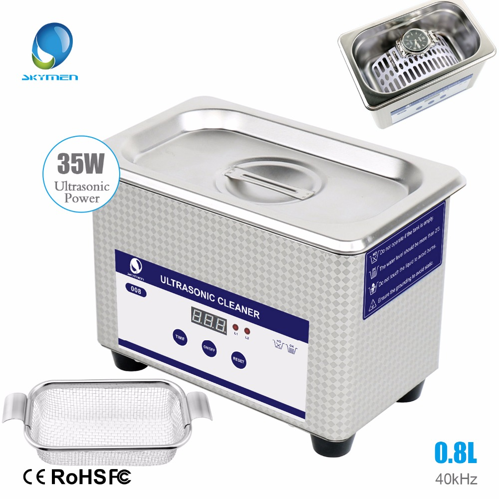 Skymen Digital 800ml Ultrasonic Cleaner Stones Metal Parts Cutters Jewelry Dental Toothbrush Manicure Glassess Tools Bullet Bath