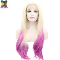 HAIR SW Long Silky Straight Synthetic Lace Front Wigs Ombre 613 Blonde to Pink Two Tone Colors Heat Resistant Wig For Women