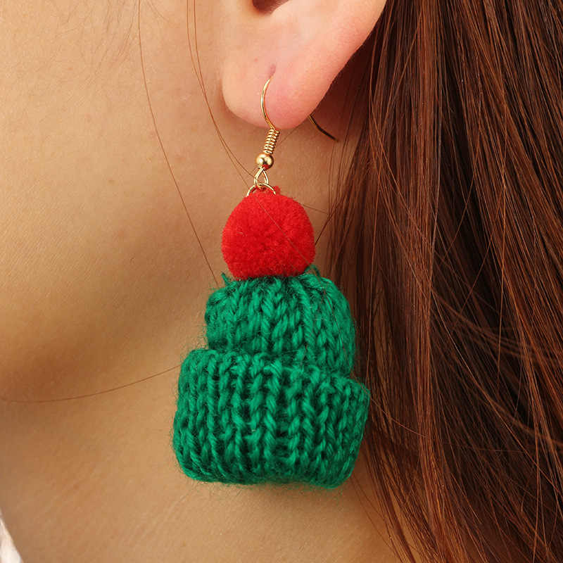 Caddice Warm Knitting Drop Earrings Colorful Hat Shape DIY Dangler Long Earrings Accessories for Women Drop Earrings