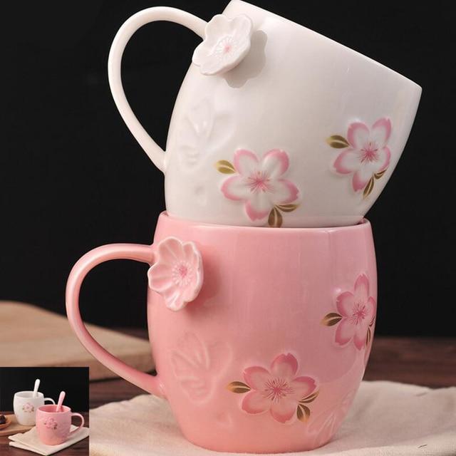 UzeQu Creative Ceramic Coffee Mugs Milk Tea Cups and Mugs Romantic Sakura Flower Mugs with Spoon Home Office Drinkware Xmas Gift