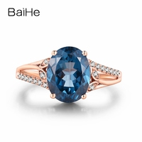 8x10mm Oval Cut Natural Blue Topaz Ring Diamonds Solid 14k Rose Gold Women Engagement Wedding Ring Fine Jewelry Ring