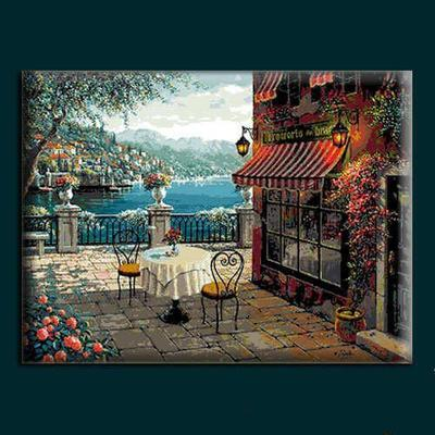 Needlework  14CT 16CT 18CT Cross Stitch, DIY Count Cross Stitch, Embroidery Set, Seaside Restaurant