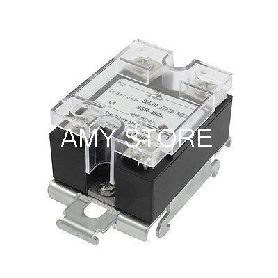 цена на 3-32VDC / 24-480VAC SSR-25DA 25A DC-AC Black Solid State Relay w DIN Rail Base SSR-25DA