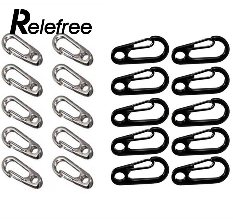 Relefree 10 Pcs Carabiner Stainless Steel EDC Keychain Clip Hiking Buckle Split Mini Spring Clasps Hook Carabiner Claspss vintage durable stainless steel carabiner clip with spring keychain black