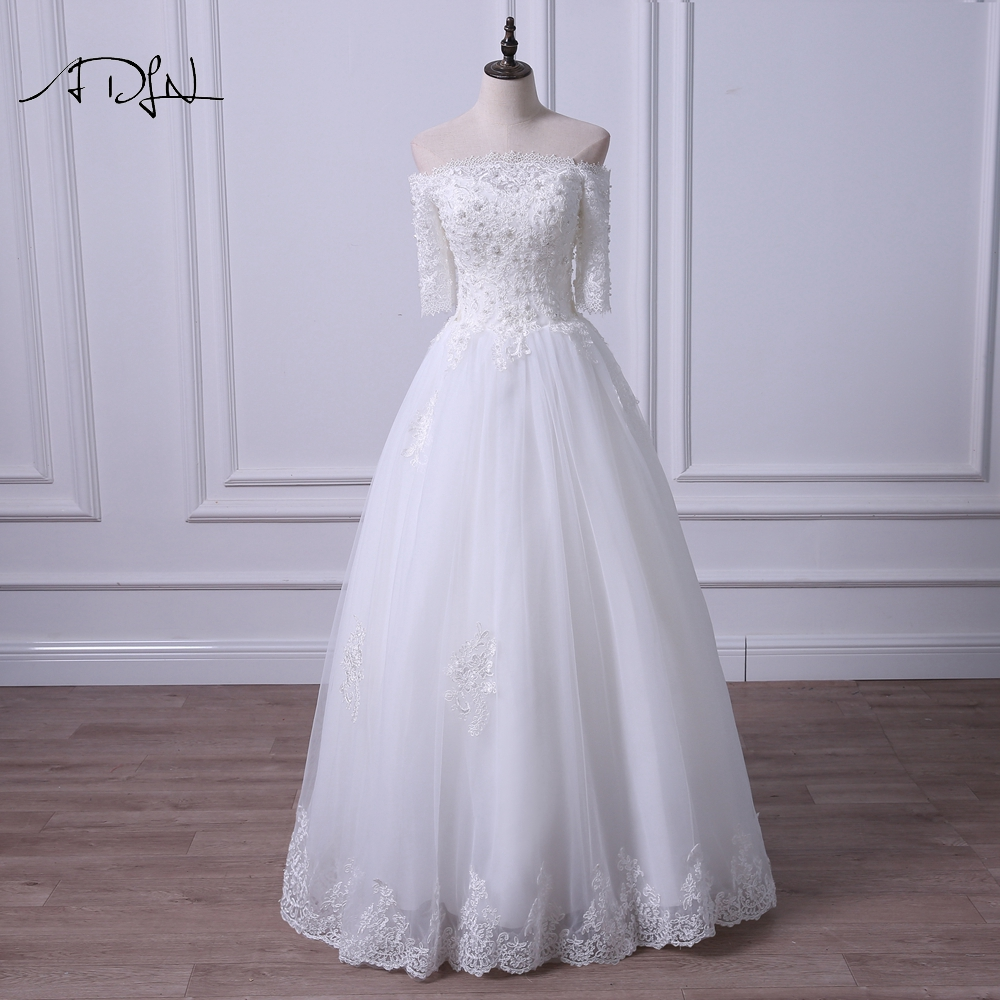 ADLN Simple Boat Neck A Line Wedding Dress With Pearls