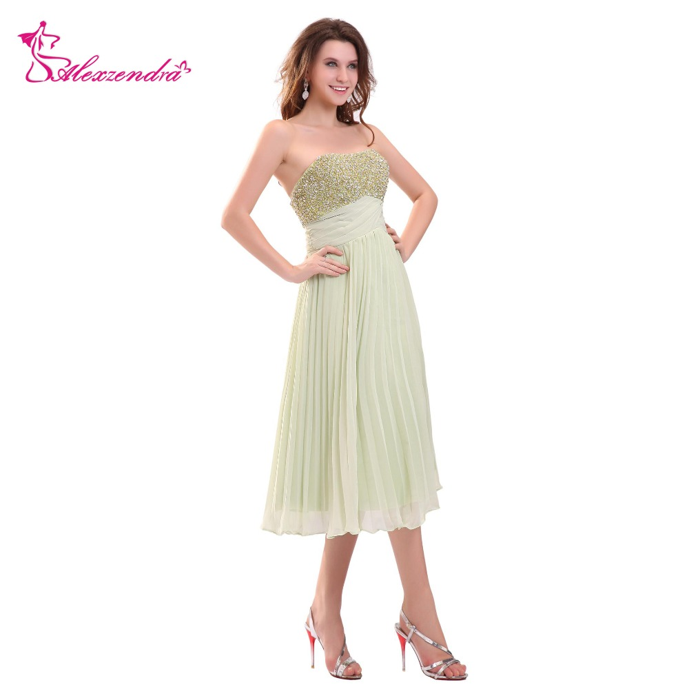 Alexzendra Chiffon A Line Short   Prom     Dresses   Beaded Simple Evening Gowns Party   Dress   Plus Size