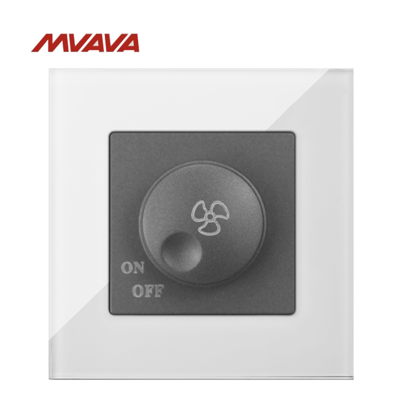 Free Shipping MVAVA Ceiling Fan Dimmer Speed Control Wall Turn ON OFF 500W Rotate Switch Luxury White Crystal UK EU Standard in Dimmers from Lights Lighting