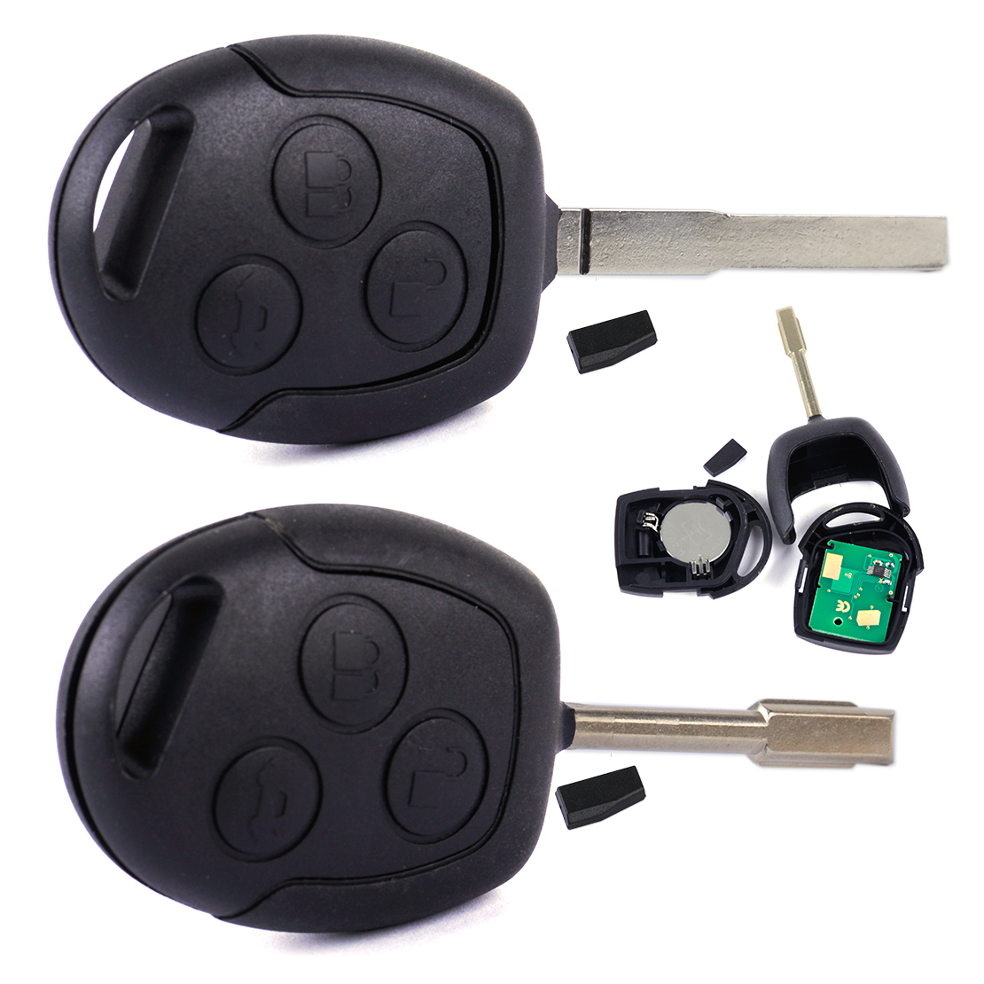 DWCX New Black Car Remote Key 3 Button Entry Key 433MHZ Replacement Fit For Ford Mondeo Fiesta Focus KA 2002