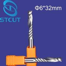 Embout en carbure, 5 pièces, mèches de routeur en spirale CNC à flûte unique, 6mm, 32mm, livraison gratuite