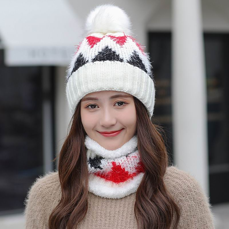 Kagenmo Cold Autumn And Winter Warm Twinset Female Thick Cap Fluff Scarf Fashion Casual Women Hot Winter Set