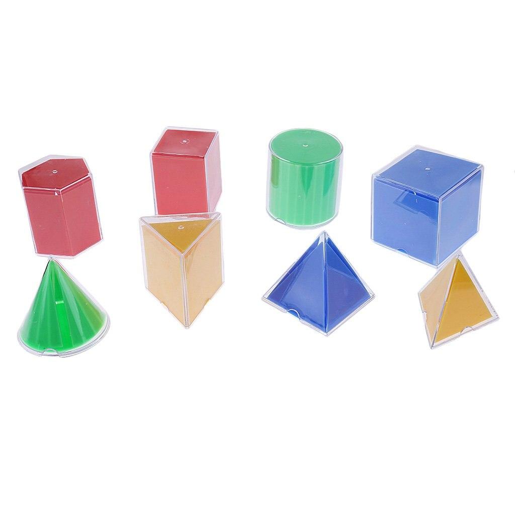 8 pièces blocs géométriques en plastique modèle aide à l'enseignement mathématiques apprentissage jouets éducatifs pour enfants en bas âge enfants