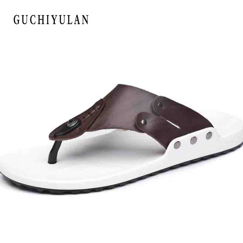 Summer sandals cow Leather Breathable flip flops men fashion Style Male Beach Non-slide Male Handmade Slippers New Arrival