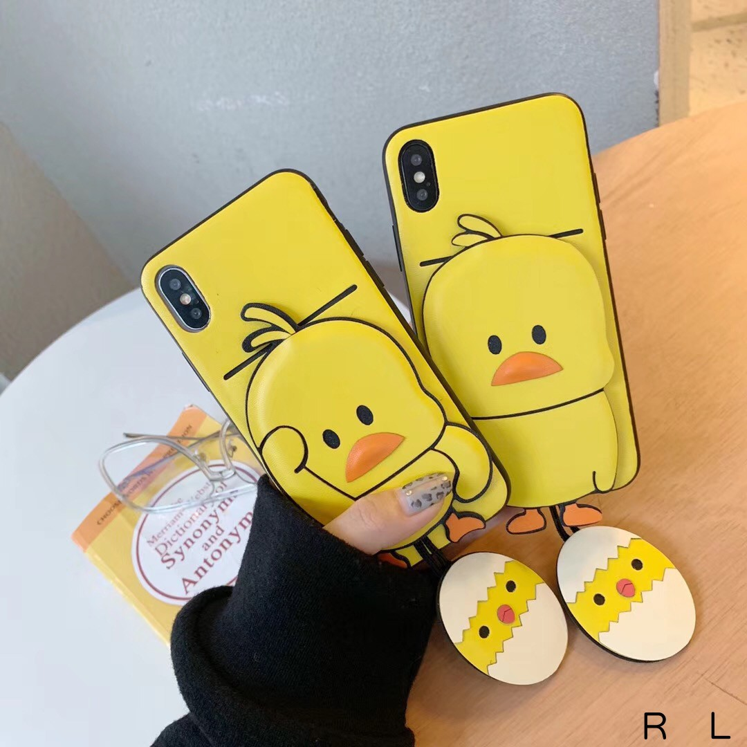 for <font><b>Iphone6</b></font> 7 8 Plus X XR XS MAX with <font><b>Card</b></font> Pocket Bags Korean Fashion Cute Vibrato Dancing 3D Little Yellow Duck Pu Leather <font><b>Case</b></font> image