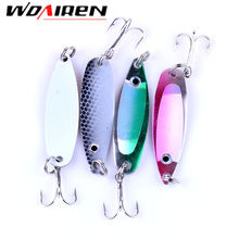 4 Pcs/Lot 5cm 6.5g  Fishing Lure Sequin Spoon Noise  Treble Hook Metal artificial Hard Bait Fishing Tackle accessory ST-190